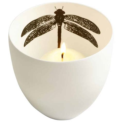 Small White Candle Holders Small White Ceramic Candle Holder Decorative Insect Design