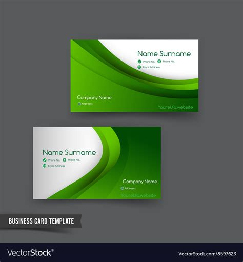 curved card template business card template set 049 green curve element