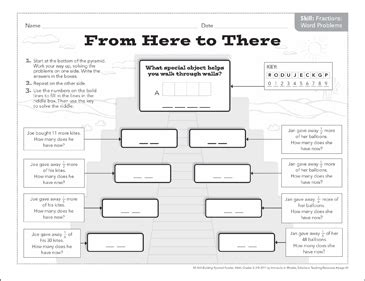From Here To There Fraction Word Problems Math Pyramid