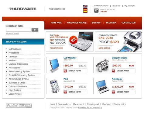 electronics oscommerce template web design templates