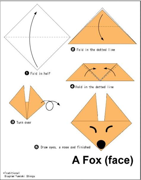 Origami Fox Diagram - 17 best images about origami on cherry flower