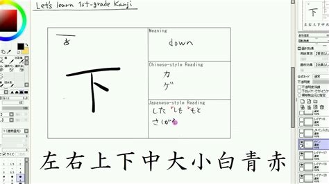 read in japanese how to read japanese lesson 20 kanji 左右上下中大小白青赤