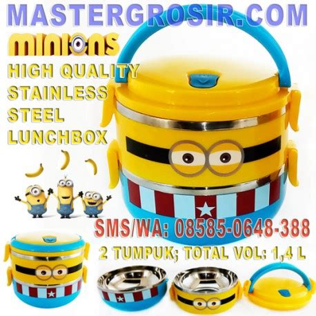 Lunch Box Rantang Minion tempat makan minions stainless steel 2 tumpuk stainless