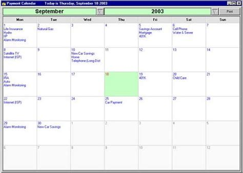 Calendar Budget Software My Budget Planner Personal Budgeting Software
