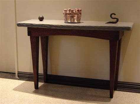 Custom Foyer Table / Stone And Wood by Stonehunterstudio
