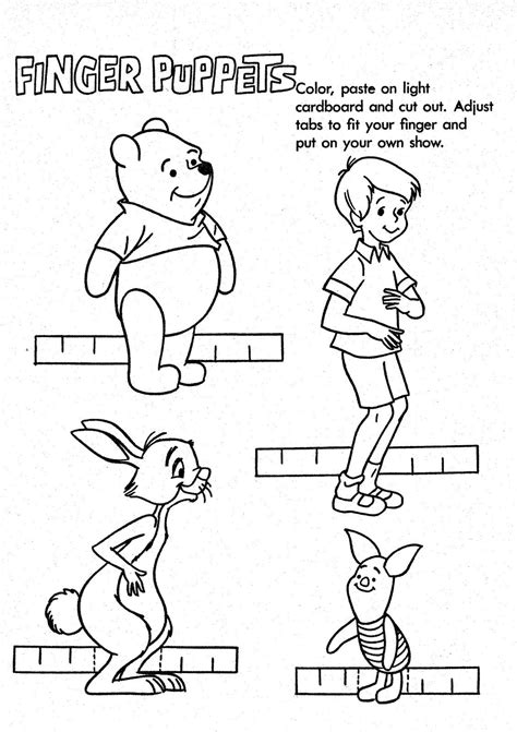 Mostly Paper Dolls: WINNIE THE POOH Finger Puppets
