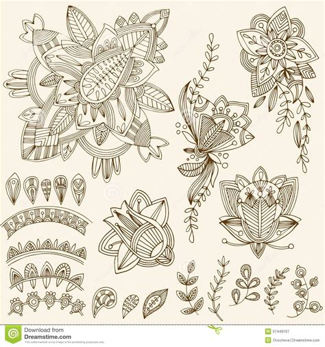 henna tattoo sets mehndi doodles set 2 abstract floral illustration