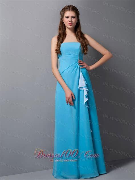 baby blue floor l baby blue column strapless floor length chiffon bridesmaid