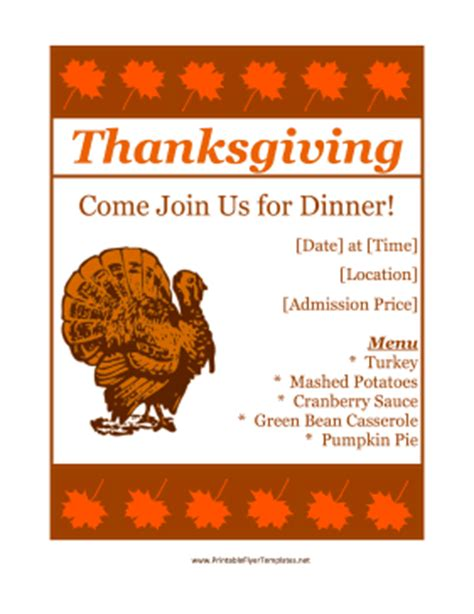 thanksgiving flyers free templates thanksgiving flyer