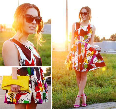43693 Yellow Graffiti Flower Dress Iren P Mart Of China Graffiti Print Dress Fuchsia