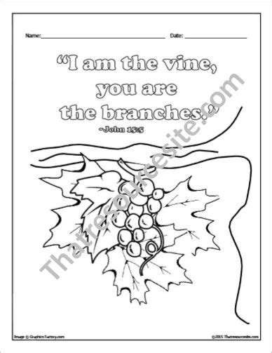 Coloring Page Vine And Branches by I Am The Vine Coloring Sheet That Resource Site