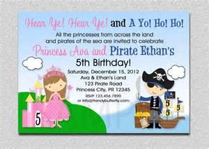princess pirate birthday invitation princess and pirate