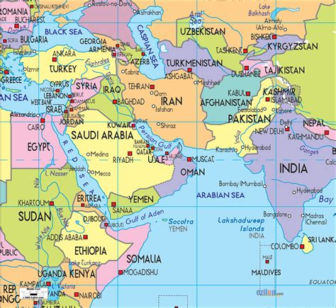 mideast map countries political map of middle east ezilon maps