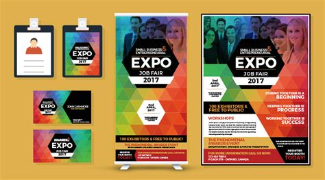 Expo Template Professional Expo Fair Flyer Business Card I D Card