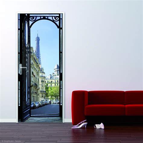 sticker de porte quot rue parisienne quot trompe l oeil