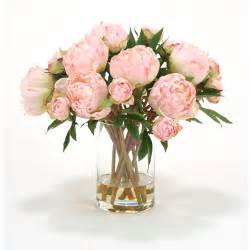 pretty pink peony silk flower arrangement in glass
