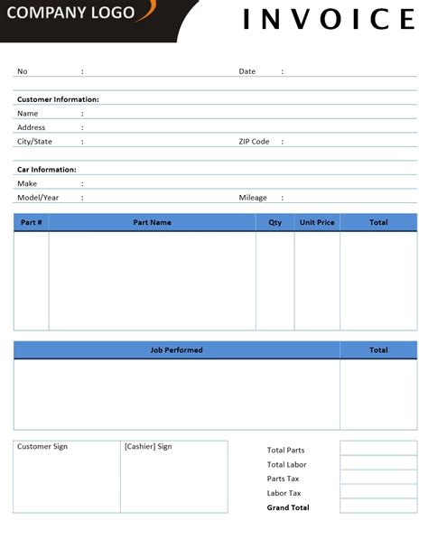 Invoice Templates Microsoft And Open Office Templates Auto Shop Invoice Template
