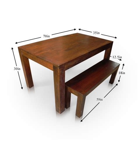 Basil Mango Wood Honey Dining Table With Bench By Mudra Online Dining Tables
