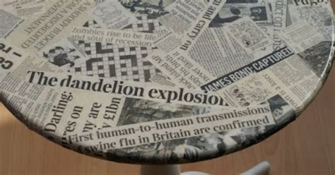 Decoupage With Newspaper Clippings - decoupage newspaper table could also use sheet or