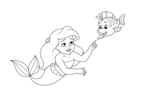 coloring page baby ariel baby princess coloring pages to download and print for free