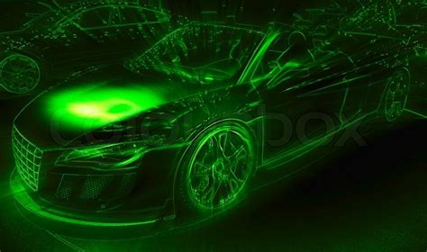 neon light drawing of the sport car stock photo