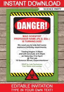 science invitations mad science birthday