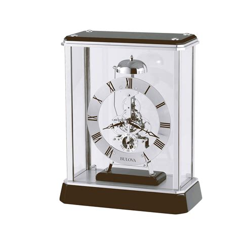 table top grandfather clock bulova vantage skeleton tabletop clock at 1 800 4clocks com