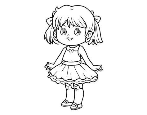 modern girl coloring page little girl with modern dress coloring page coloringcrew com