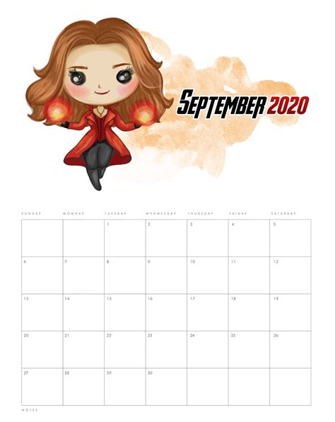 printable september  calendar cute date pages