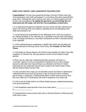 employee credit card agreement template credit agreement employee fill printable