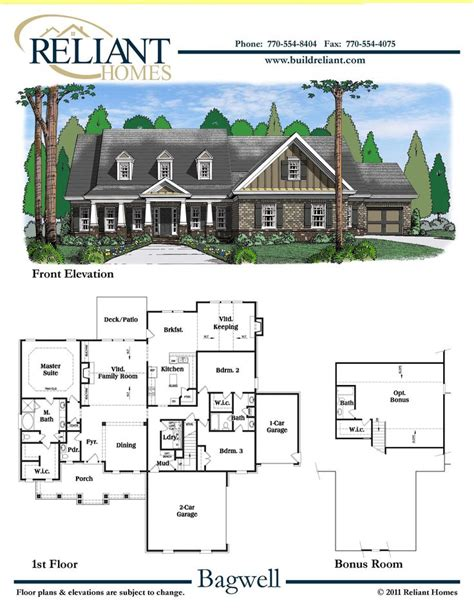 reliant homes the bagwell plan floor plans homes