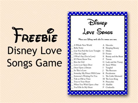 Kitchen Booth Ideas by Free Disney Love Song Bridal Shower Game Bridal Shower