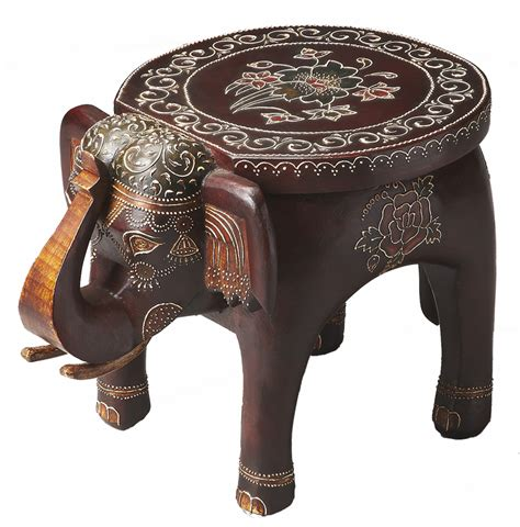 handcrafted hand painted mango wood elephant accent table