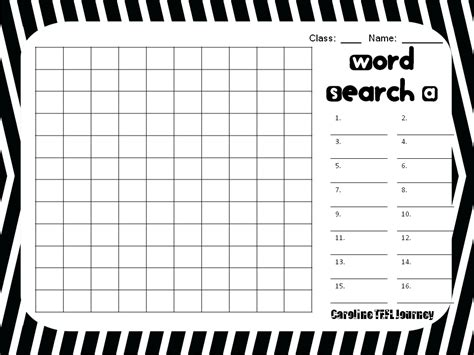 caroline tefl journey word search template