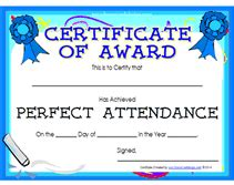 printable perfect attendance awards certificates