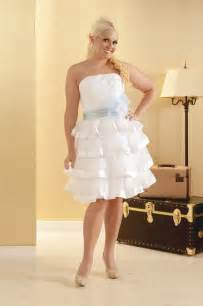 plus size short strapless wedding dress with sash sang