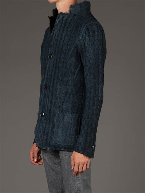 blue cable knit cardigan lyst avant toi cable knit cardigan in blue for