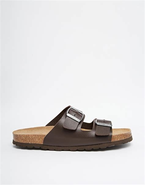 buckle sandals asos sandals with buckle in brown for lyst