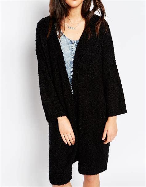 black knit cardigan brave soul black lined chunky knit cardigan lyst