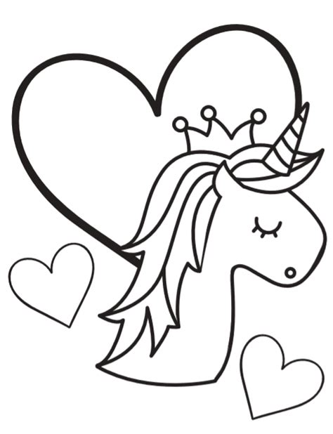 heart crown coloring page free super cute printable unicorn coloring book pages