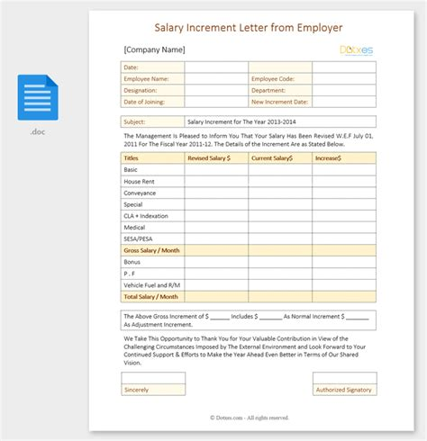 salary increment letter salary increment letter 14 best printable sles and