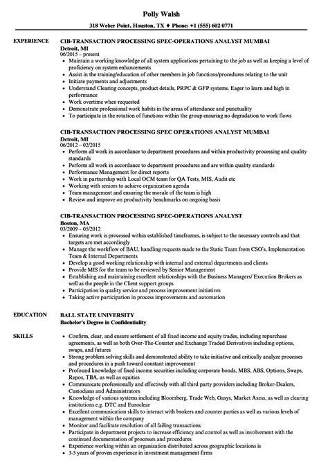 Operations Analyst Resume Exle by Transaction Operations Analyst Resume Sles Velvet