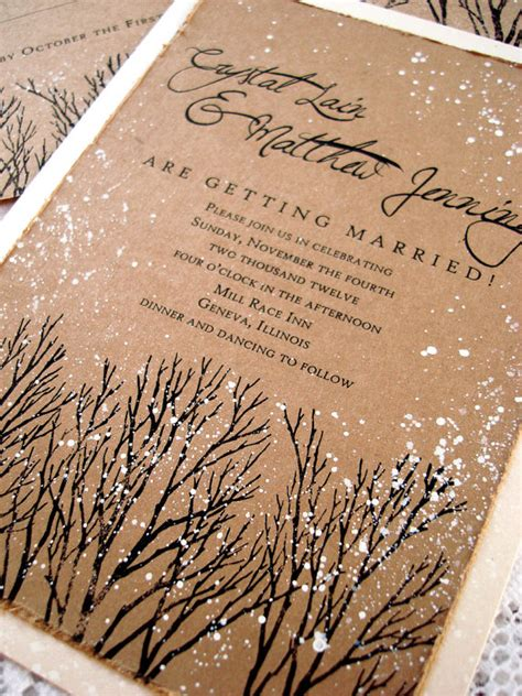 Winter Wedding Invitations by Winter Wedding Invitations Rustic Wedding Invitations Tree