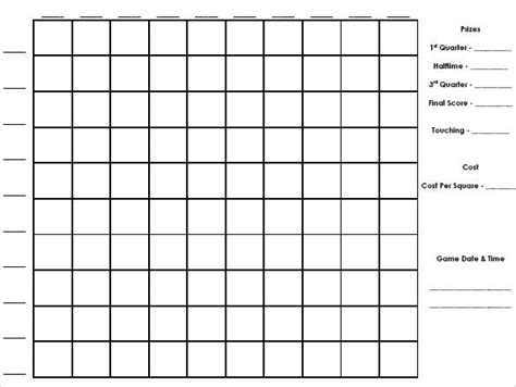 100 Square Football Pool Template by Number Names Worksheets 187 100 Square Printable Free