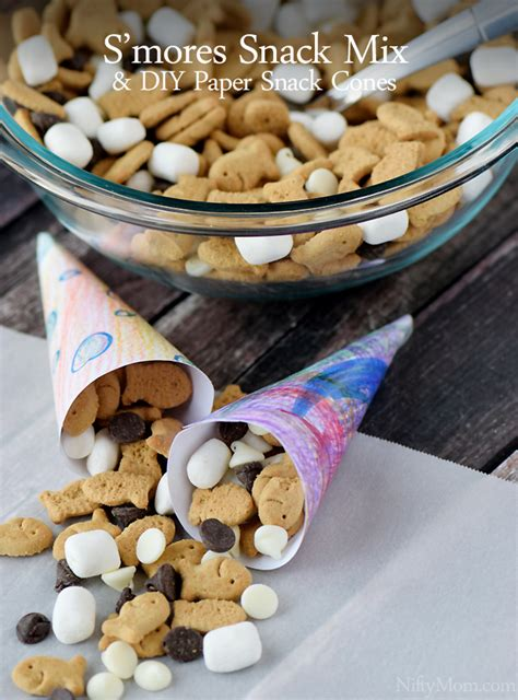How To Make Paper Cones For Food - s mores snack mix diy paper snack cones