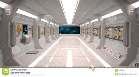futuristic design spaceship interior with metal floor and
