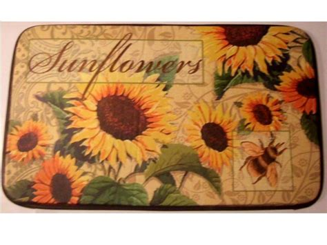 Sunflower Kitchen Rugs Sunflowers Cushion Comfort Kitchen Rug