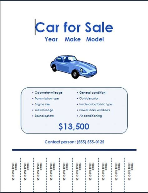 5 free car for sale flyer templates excel pdf formats