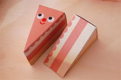 Craft Paper Box - cake slice treat boxes paper craft diy my paper crane