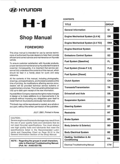 service repair manual free download 2006 hummer h1 head up display hyundai h1 shop manual pdf